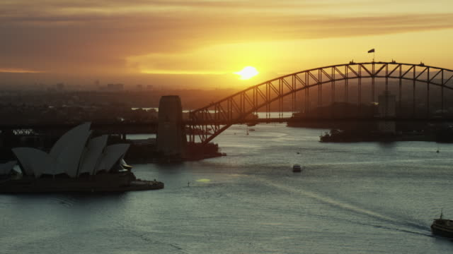 Aerial sunset Sydney Harbor Bridge and Opera House