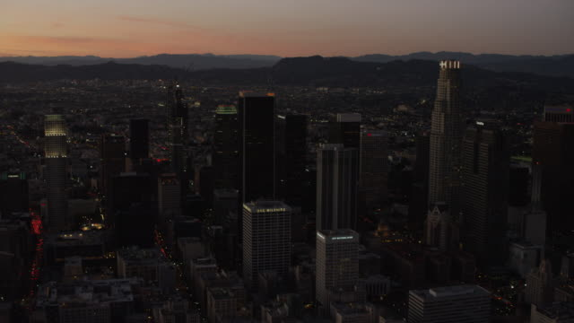 Aerial sunset view Bank of America Los Angeles