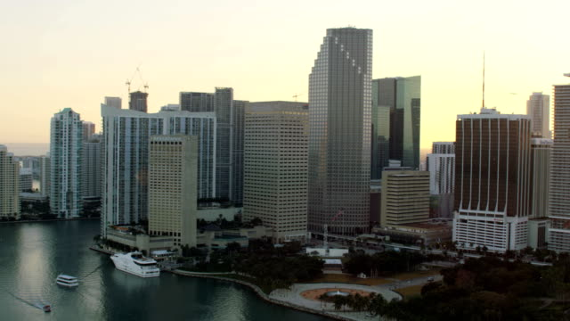 aerial sunset view brickell key downtown skyscrapers miami - downtown stock videos & royalty-free footage