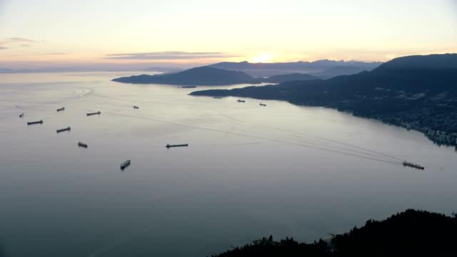 Aerial sunset view Burrard Inlet British Columbia Canada