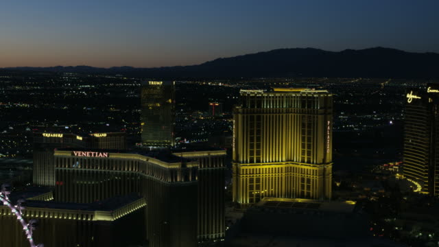 Aerial sunset view casino hotels Las Vegas Blvd