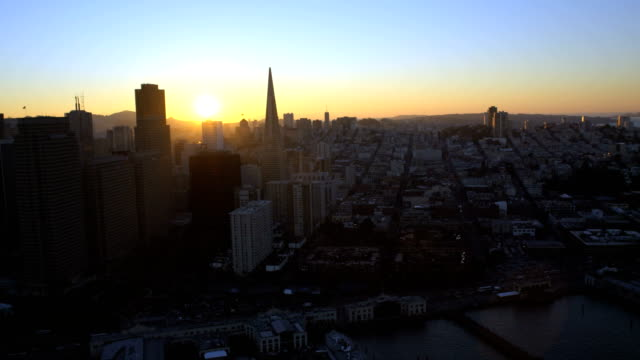 Aerial sunset view city Skyscrapers San Francisco USA
