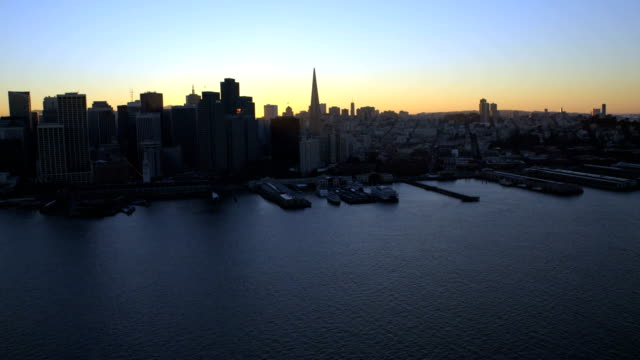 aerial sunset view city skyscrapers san francisco usa - north pacific stock videos & royalty-free footage