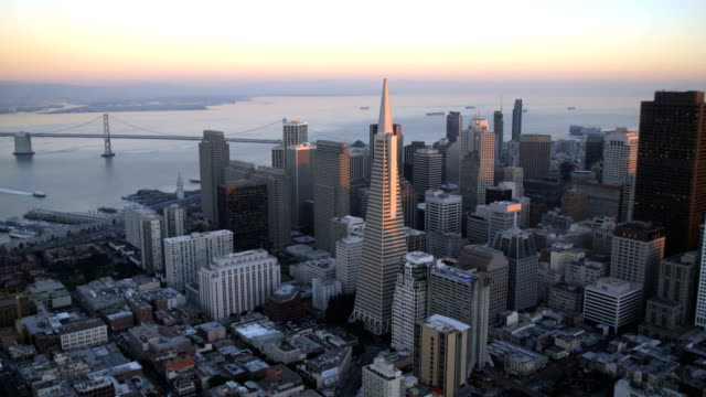 aerial sunset view city skyscrapers san francisco usa - san francisco california video stock e b–roll
