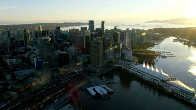 aerial sunset view coal harbour vancouver city canada - anchored stock videos & royalty-free footage