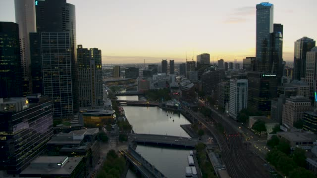 aerial sunset view crown casino yarra river melbourne - dusk stock videos & royalty-free footage