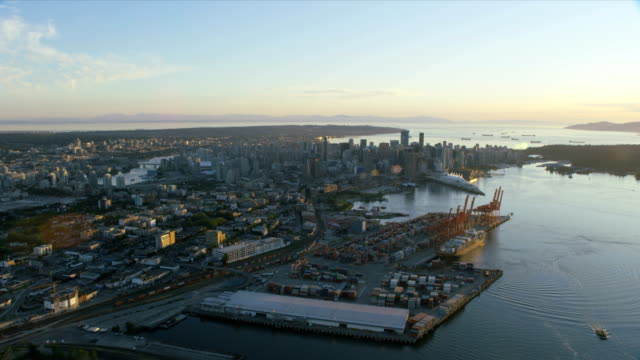 aerial sunset view downtown vancouver british columbia canada - anchored stock videos & royalty-free footage