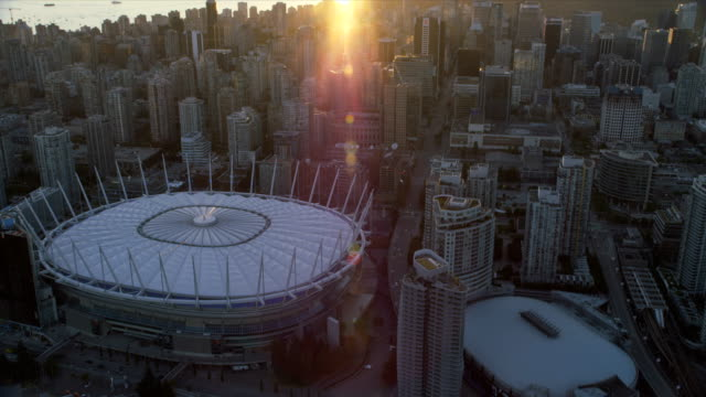 Aerial sunset view downtown Vancouver British Columbia Canada