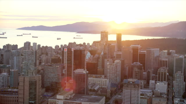 aerial sunset view downtown vancouver british columbia canada - vancouver canada stock videos & royalty-free footage