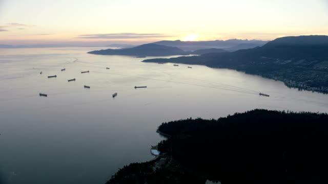 Aerial sunset view English Bay British Columbia Canada