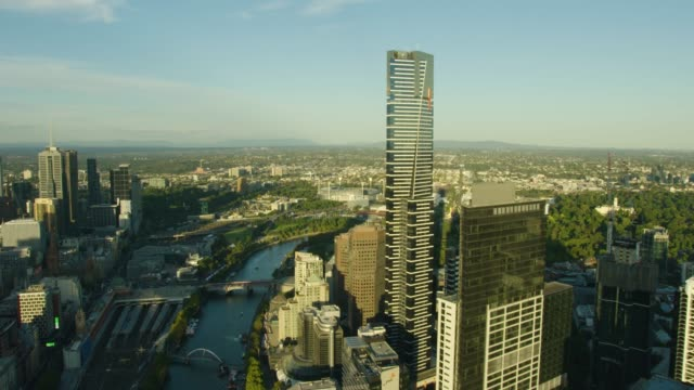 aerial sunset view eureka tower yarra river melbourne - downtown stock videos & royalty-free footage