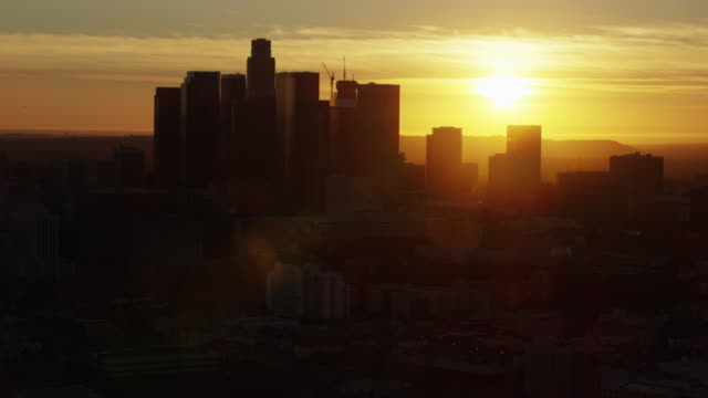 Aerial sunset view financial district downtown Los Angeles