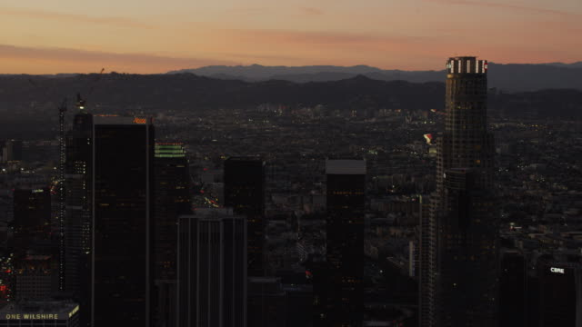 aerial sunset view financial district downtown los angeles - financial building stock videos & royalty-free footage