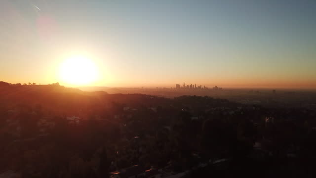Aerial: Sunset View From The City