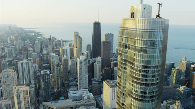 Aerial sunset view Lake Michigan Trump Tower Chicago