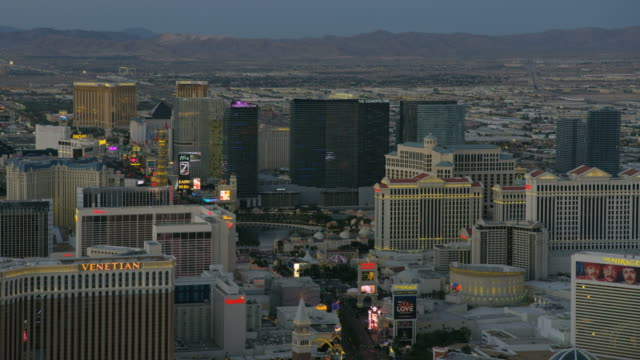 Aerial sunset view Las Vegas Blvd casino hotels