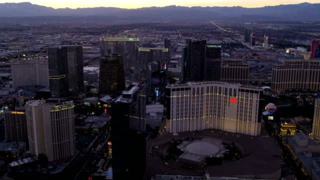 Aerial sunset view Las Vegas hotels and casinos