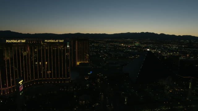 Aerial sunset view Las Vegas Strip casino hotels