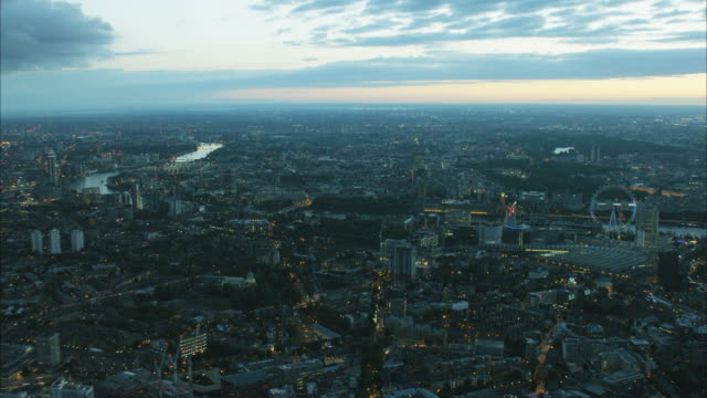 Aerial sunset view London Eye and London cityscape