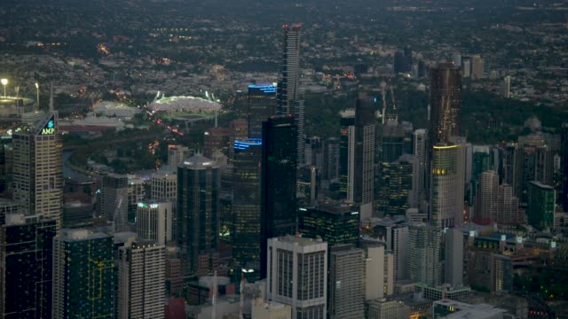 aerial sunset view melbourne cricket ground and skyline - skyline stock videos & royalty-free footage