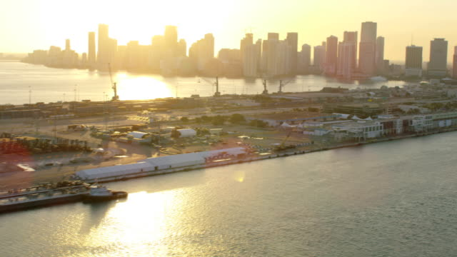 aerial sunset view miami container port cruise terminal - biscayne bay stock videos & royalty-free footage