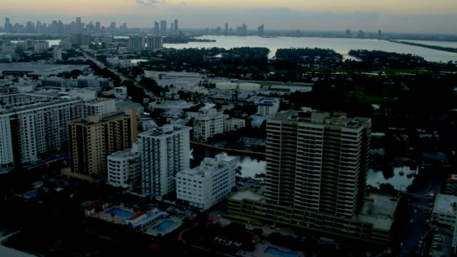 aerial sunset view miami south beach resort hotels - biscayne bay stock videos & royalty-free footage