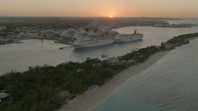 aerial sunset view nassau cruise ship terminal bahamas - bahamas stock videos & royalty-free footage