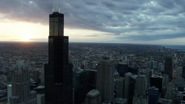 aerial sunset view of chicago sears tower - chicago loop stock videos and b-roll footage