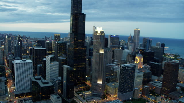 Aerial sunset view of downtown Chicago city skyscrapers