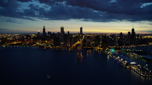 Aerial sunset view of Lake Michigan Chicago