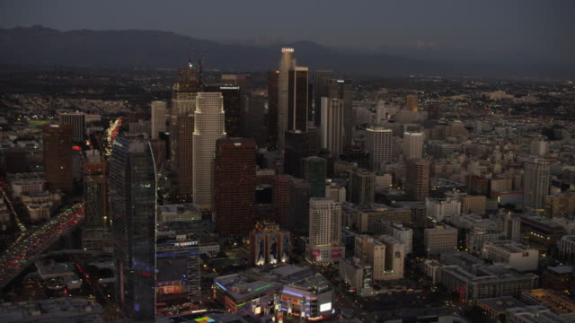 Aerial sunset view of Los Angeles city skyscrapers