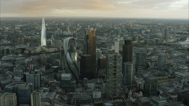 Aerial sunset view of Shard Building London UK
