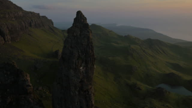 aerial sunset view of storr trotternish ridge scotland - scottish highlands stock videos and b-roll footage