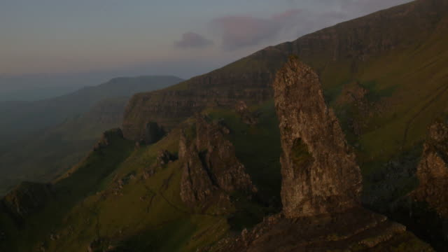 Aerial sunset view of Storr Trotternish Ridge Scotland