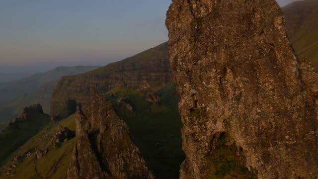 aerial sunset view of storr trotternish ridge scotland - twilight stock videos & royalty-free footage