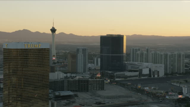 Aerial sunset view of Stratosphere Tower Las Vegas