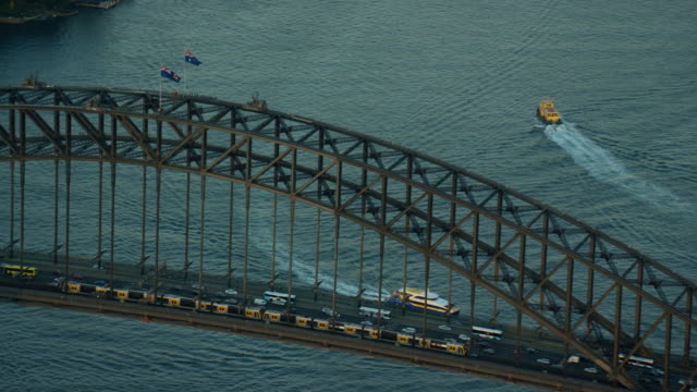 Aerial sunset view of Sydney Harbor Bridge climb
