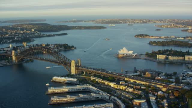 Aerial sunset view of Sydney Harbour Bridge Australia