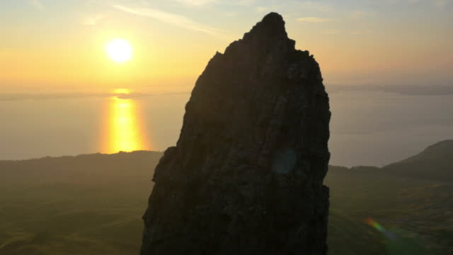 Aerial sunset view of Trotternish Ridge by Storr