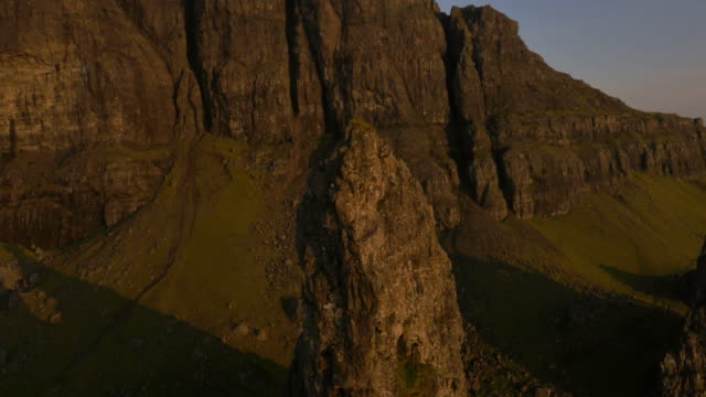aerial sunset view of trotternish ridge by storr - scottish highlands stock videos and b-roll footage