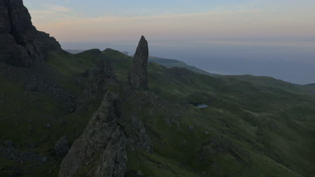 aerial sunset view of trotternish ridge near storr - scottish highlands stock videos and b-roll footage