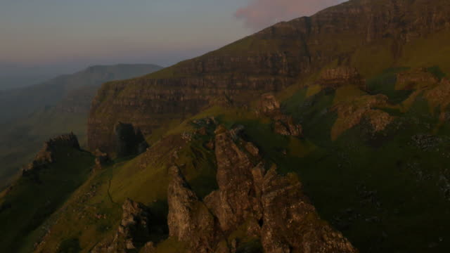Aerial sunset view of Trotternish Ridge near Storr