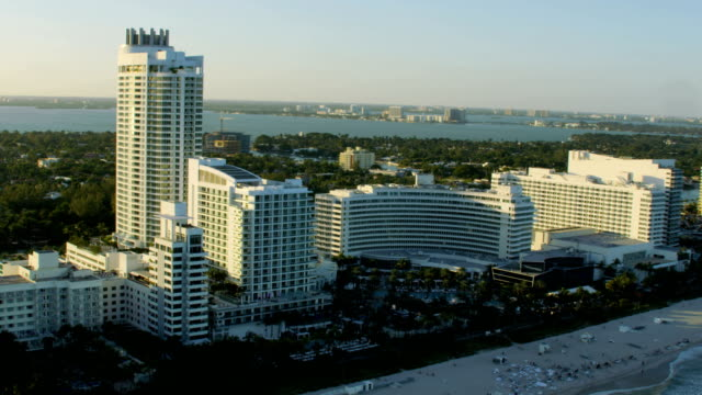 Aerial sunset view of Waterfront Fontainebleau Hotel Miami