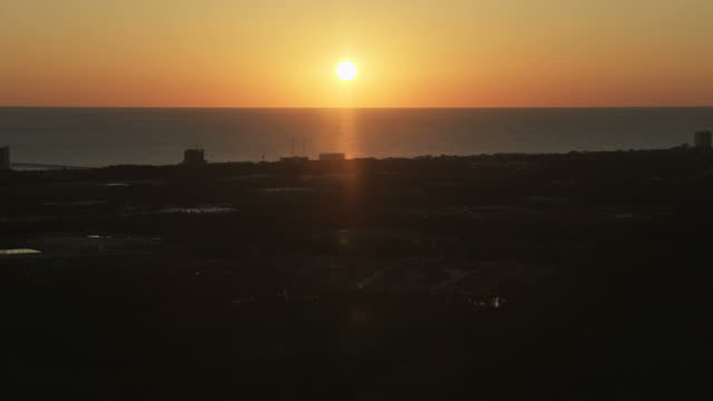 Aerial sunset view Panama city beach Florida USA