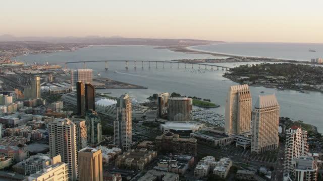 stockvideo's en b-roll-footage met aerial sunset view san diego coronado bridge california - navel