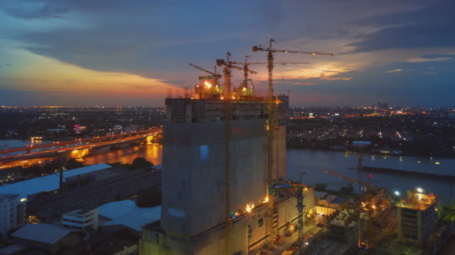Aerial Sunset View shot of Construction Site,Hyper lapse