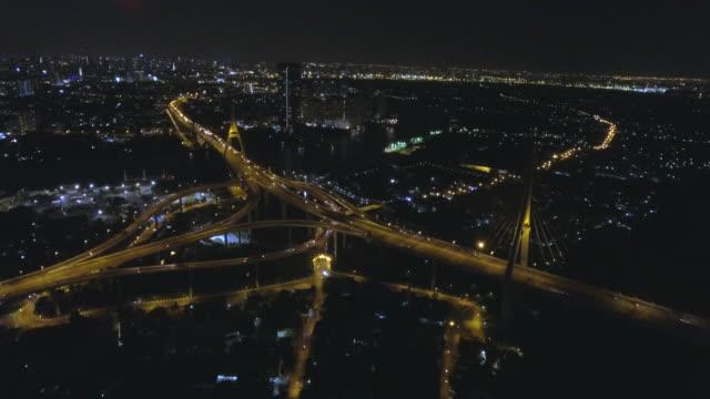 プミポン橋の夕焼け空撮ショット - クワッドコプター点の映像素材/bロール