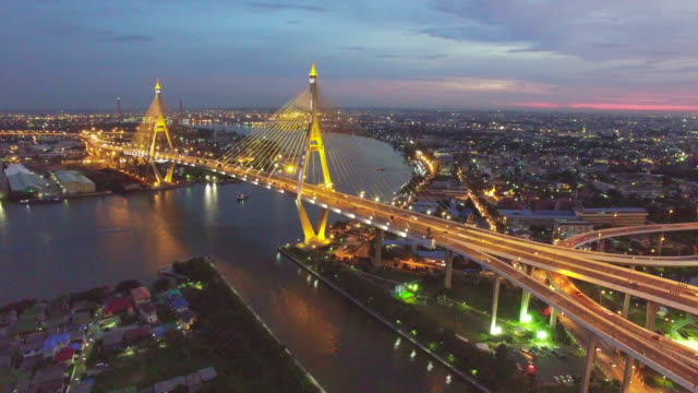 aerial sunset view shot of the bhumibol bridge,bangkok - aircraft point of view stock videos & royalty-free footage