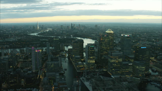 Aerial sunset view skyscrapers Canary Wharf London UK