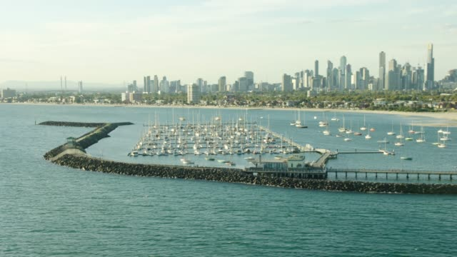 aerial sunset view st kilda pier marina melbourne - viewpoint stock videos & royalty-free footage
